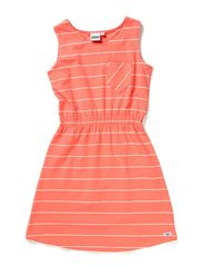 Laura Dress with waist n/s - 42 Coral/vintage white stripe