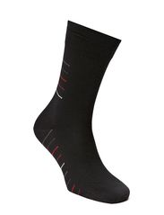 Mens Business Sock Stripe - BLACK/ASCOT/TOMATO