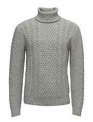 United Rollneck Sweater - GREY MARL GARMENT WASHED