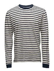 Tokyo Blues Long Sleeve T-Shirt - OFF WHITE / NAVY