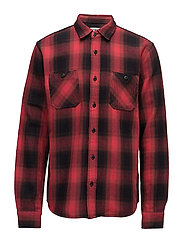 Labour Shirt Heavy flanel brushed - RED GARMENT WASHED