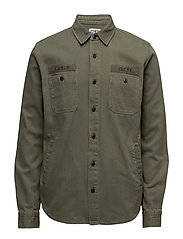 Labour 4 pockets Shirt Herringbone - MILITARY GREEN GARMENT WASHED