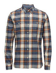 Tripple 10 Check Shirt - BLUE / RUST GARMENT WASHED