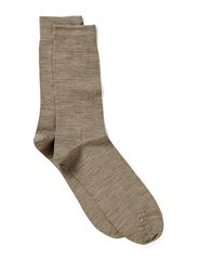 TWIN-FACE PLAIN-SOCKLET C/WOOL - beige mela