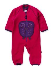 Owl Fleece Playsuit - Cerise