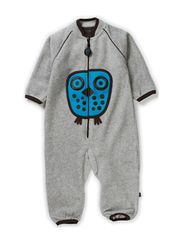Owl Fleece Playsuit - Grey Melange