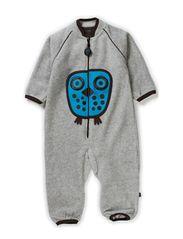 Owl Fleece Playsuit - Grey Melange