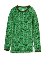 Owl Wool T-shirt l/s - Island Green