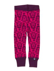 Owl Wool Leggings - Cerise