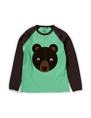 Bear T-shirt l/s single print - Sprout Green