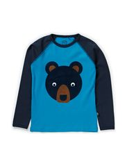 Bear T-shirt l/s single print - Turquoise