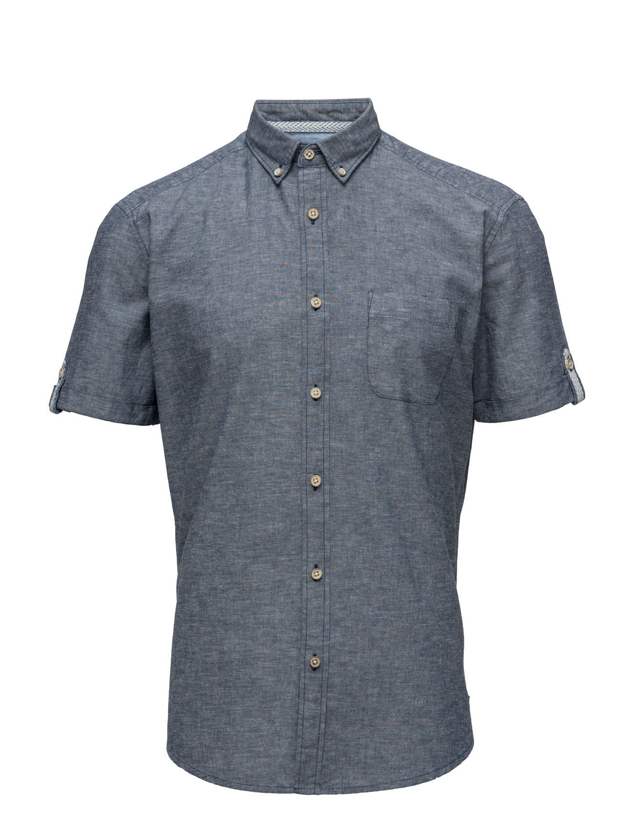 Shirts Woven Esprit Casual Kortærmede til Herrer i Navy blå