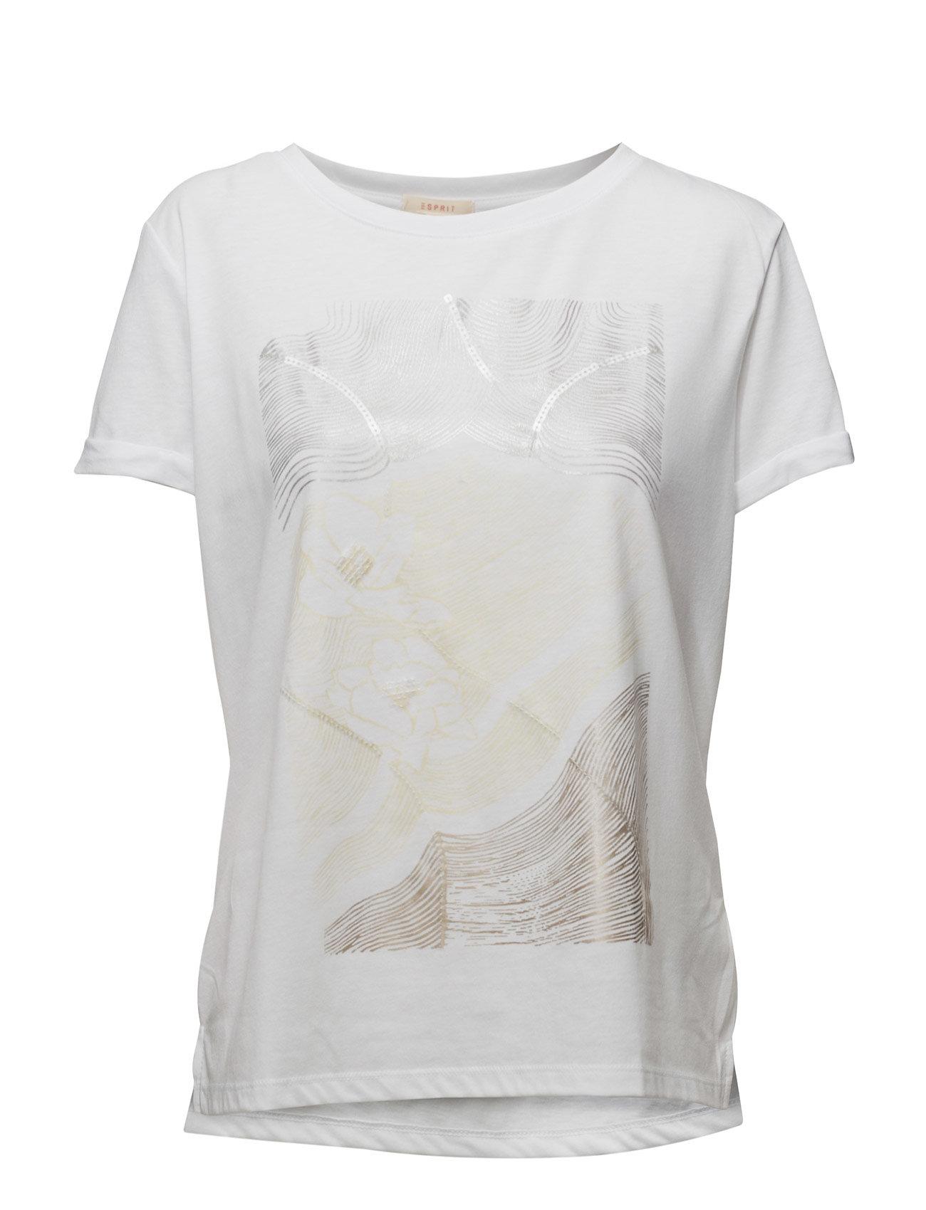 7c64d28f80f T-Shirts Esprit Casual Kortærmede til Damer i hvid   Unfairfashion.dk