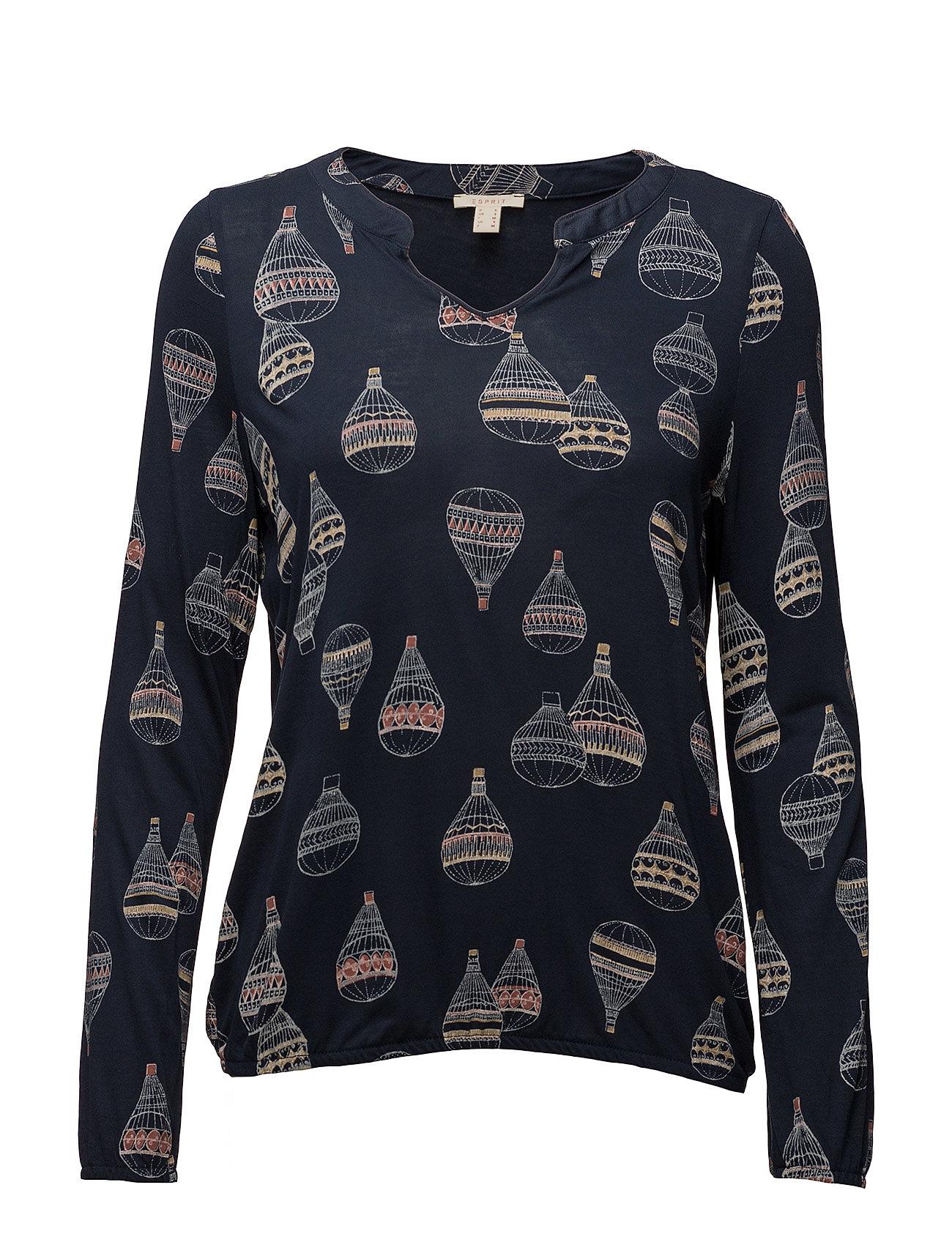 T-Shirts Esprit Casual Langærmede til Damer i Navy blå