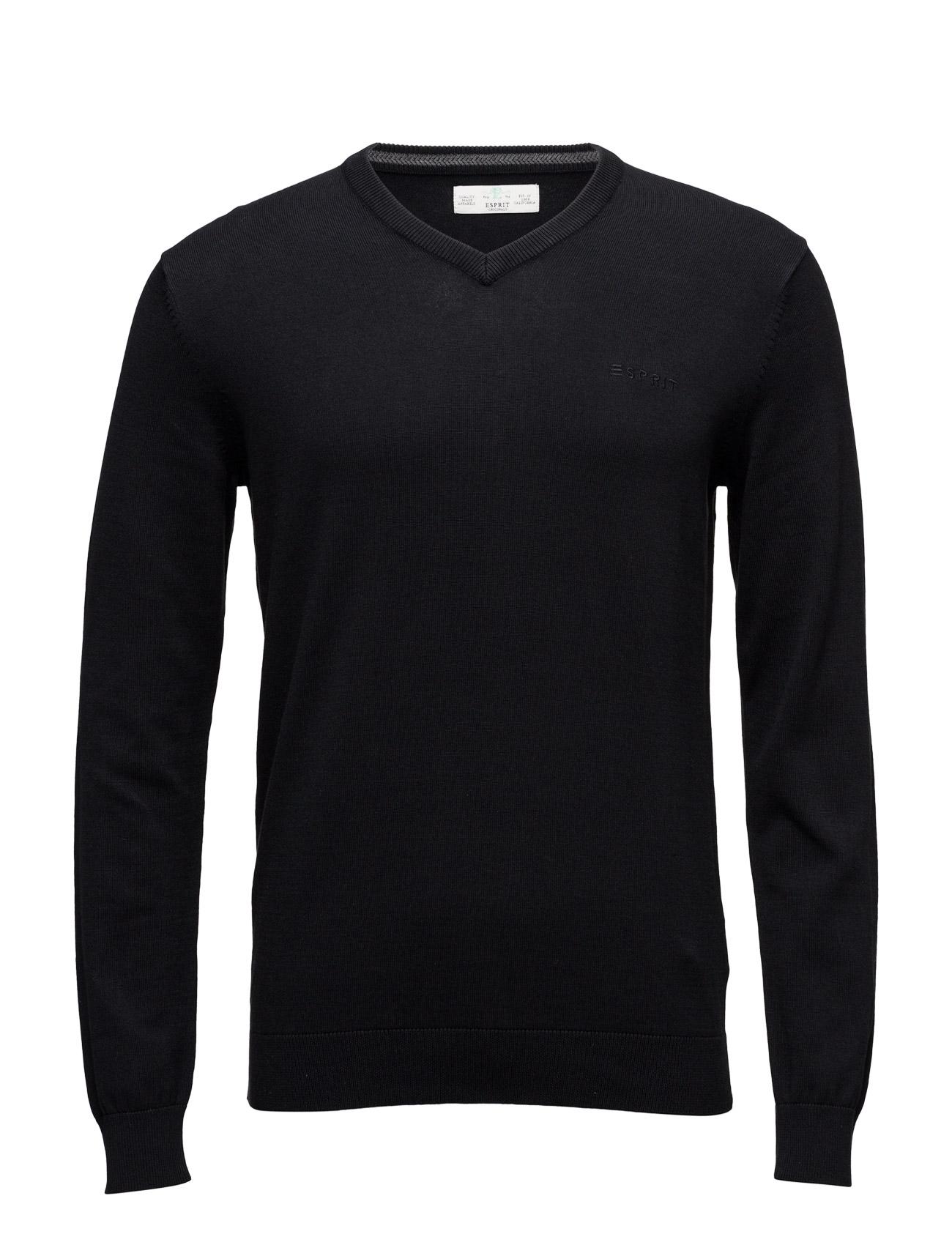 Sweaters Esprit Casual V-halsede til Herrer i Sort