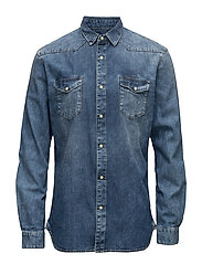 Shirts woven - BLUE MEDIUM WASH