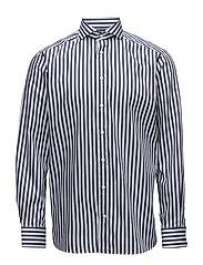 Navy & White Bold Striped Shirt - BLUE