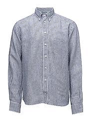 Navy Striped Linen Shirt - BLUE