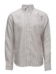 Brown Striped Linen Shirt - OFFWHITE/BROWN