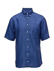 Navy Linen Shirt - Short Sleeve - BLUE