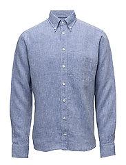 Blue Button Down Linen Shirt - BLUE