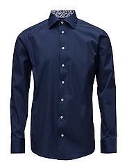 Navy Shirt - Palm Print Details - BLUE