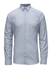 Blue Check Shirt - Palm Print Details - BLUE