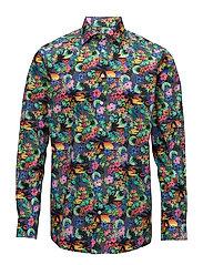 Vibrant Floral Print Shirt - BLUE