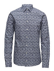 Palm Print Poplin Shirt - BLUE