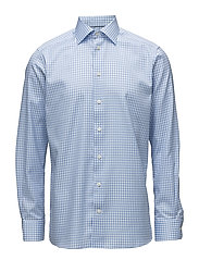 Blue Gingham Check Sablé Shirt - BLUE