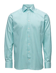 Green Gingham Check Sablé Shirt - GREEN