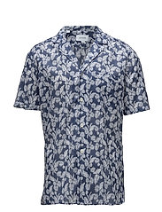 Navy Palm Print Resort Shirt - BLUE