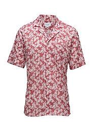 Red Palm Print Resort Shirt - PINK/RED