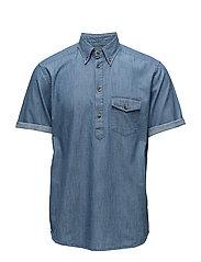 Denim Short Sleeve Popover Shirt - BLUE