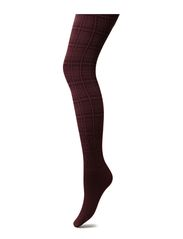 MODERN CHECK TIGHTS - BURGUNDY