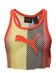 MESH CROPPED TANK TOP - ORANGE POP