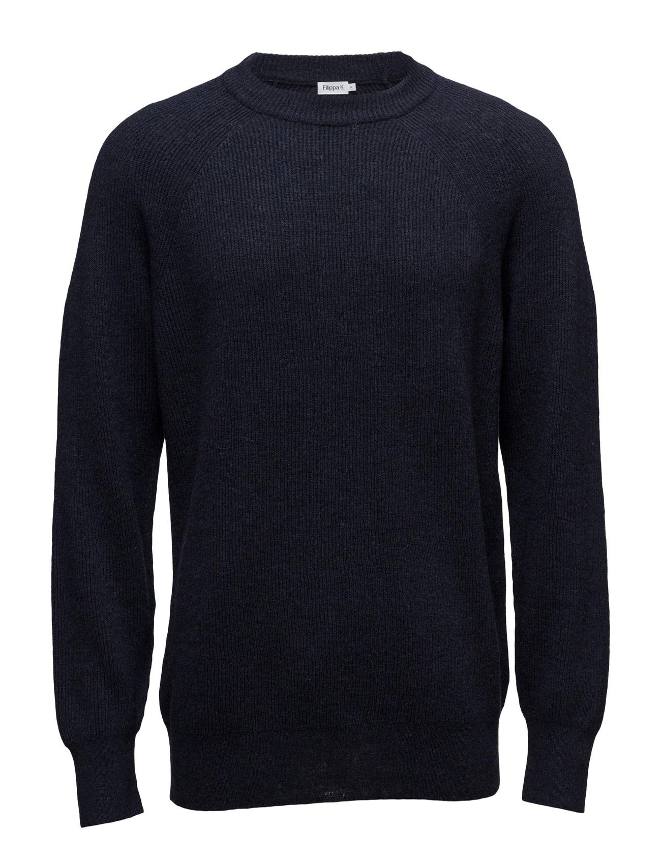 M. Wool Linen Rib Sweater Filippa K Rundhalsede til Herrer i Navy blå