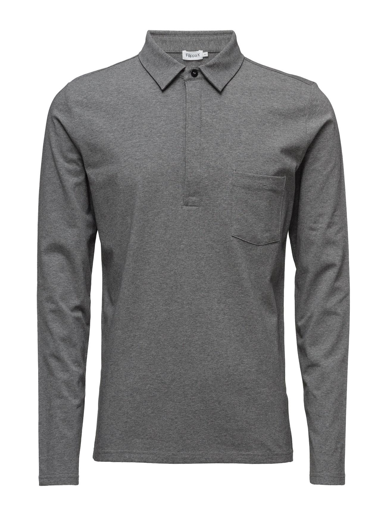 M. Soft Lycra Poloshirt Filippa K Længærmede polo t-shirts til Herrer i Grey Mel.