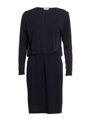 Crepe Blouse Dress - Navy