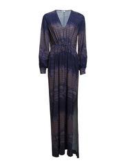 Print Deep V- Neck Dress - Mink/Space