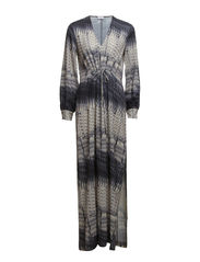 Print Deep V- Neck Dress - Offwhite/Black