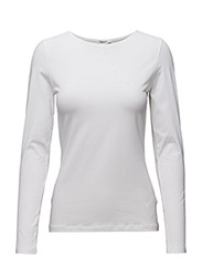 Fine Lycra R-neck Top - WHITE