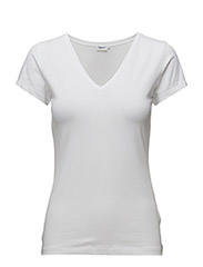 Fine Lycra V-Neck Top - WHITE