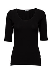 Fine Lycra Scoop Top - BLACK