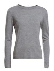 Merino R-Neck Pullover - Grey Mel.