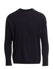 R-neck Wool Pullover - Navy