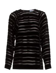 Stripe Velvet Blouse - Black