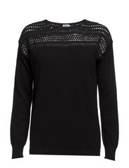 Crochet Knit Pullover - Black