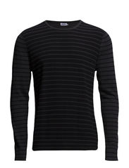 M. Cotton Merino Stripe Sweate - Black/Dk.