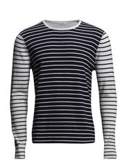 M. Cotton Merino Stripe Sweate - Navy/Ivory